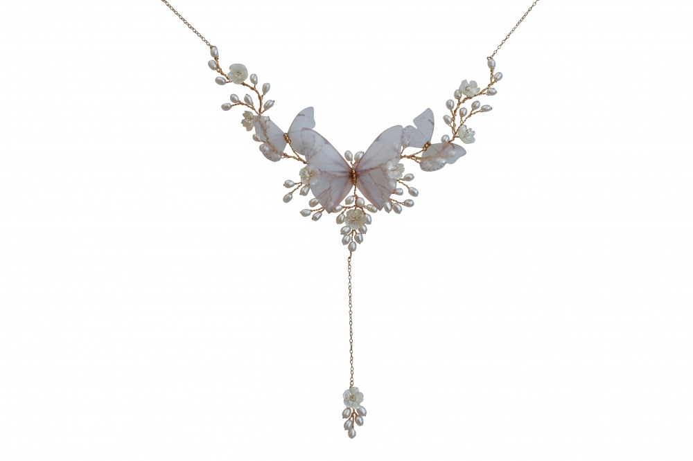 pearl back necklace with butterflies